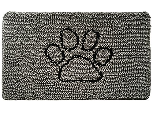 Original Large Bowl - Gorilla Grip Original Shaggy Chenille Pet Rug Mat (44 x 26), Extra Soft on Paws, Helps Absorb Mud and Dirt, Machine Wash/Dry, Carpet Mats Perfect for Crates, Door Mat, Under Bowls (Paw Gray)