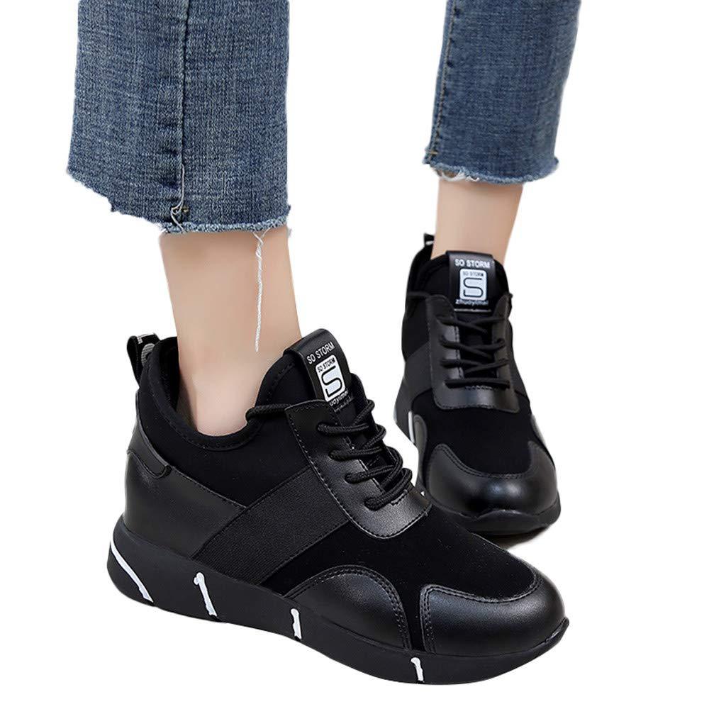 Chaussures de 17024 Sport Femmes Course Formateurs Occasionnels Plat Occasionnels Course Baskets Respirantes Noir 83d2fe4 - boatplans.space