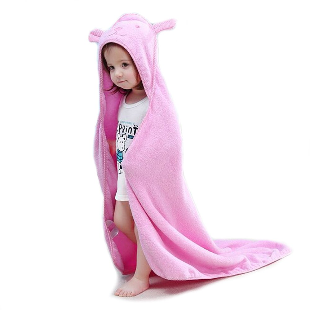 Golden Rule High Quality Baby Towels with Hood for Girls Washcloth Ultra Soft Super Absorbent Bamboo Towels Great Gift for Newborn & Kids(Pink)