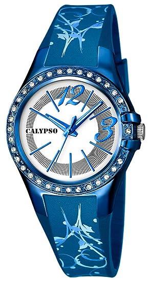 Calypso watches Reloj de pulsera mujer Reloj analógico reloj 10 ATM con brillantes de ribete K5624