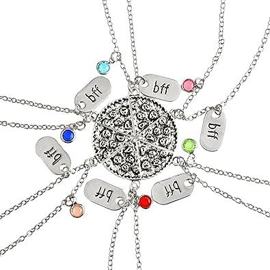 47f241245d16 Gudeke Colgante de Rebanada de Pizza, Collares de la Amistad con Grabado  BBF Collar de Diamantes de Imitación Multicolor para la Mejor Joyería del  ...