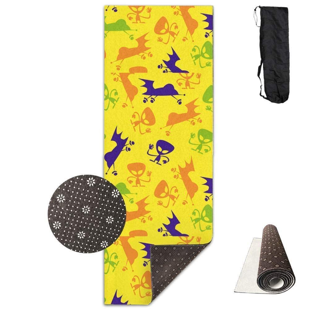 70Inch Long 28Inch Wide Comfort Velvet Yoga Mat, Aliens and Spaceships Mat Carrying Strap & Bag