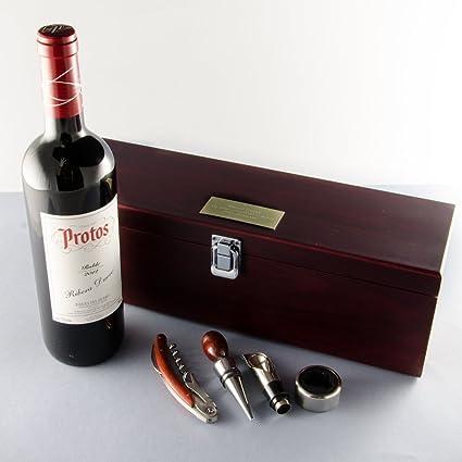Caja Sumiller con botella de vino personalizada
