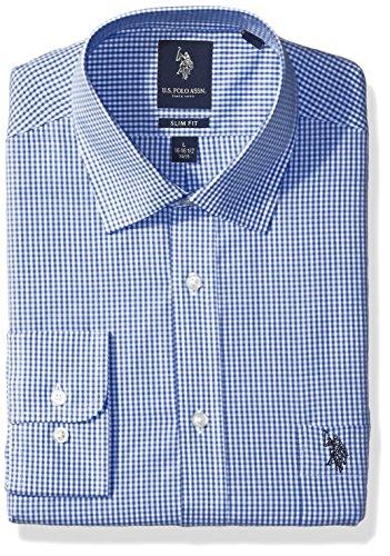 U.S. Polo Assn. Men's Slim Fit Check Semi Spread Collar Dress Shirt, Gingham Check Blue/White, 17