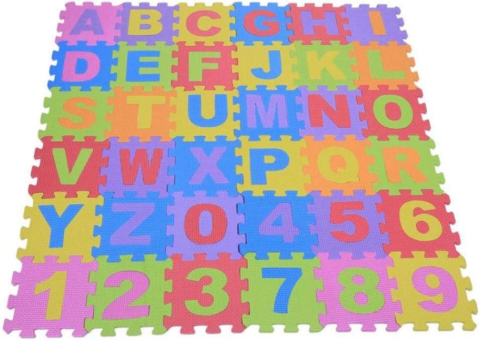 Tapis de mousse B/éb/é Chiffres et lettres de tapis de jeu en mousse souple Jouant au pad rampant Jouets pour enfants Enfants Puzzle Tapis de b/éb/é@Color/é/_12 x 12cm chaque tapis
