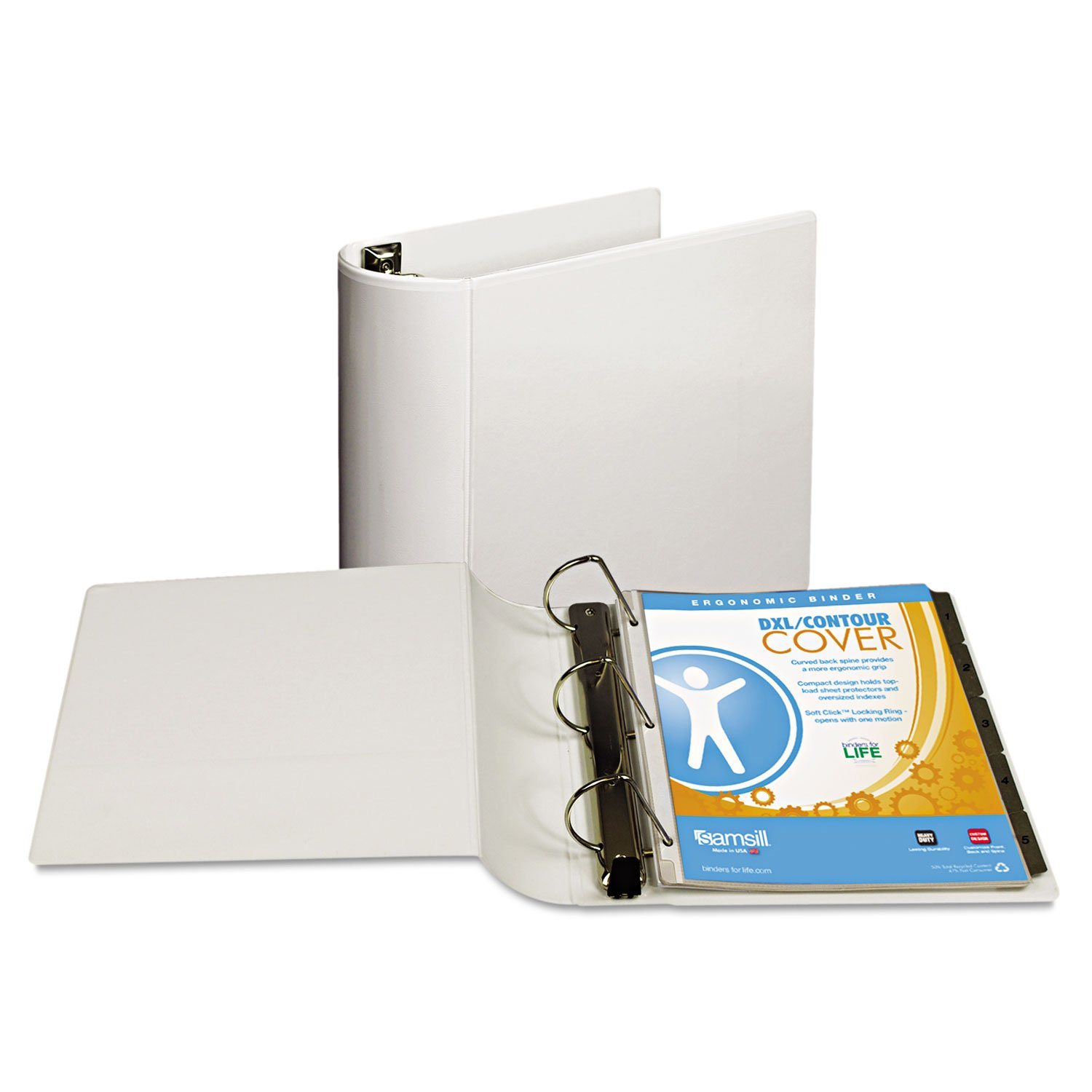 Samsill 17797 Top Performance DXL Angle-D View Binder 4'' Capacity White