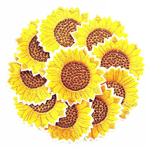 Qingxi Charm 20pcs Yellow Sunflower Sewing on/Iron on Embroidered Patches Clothes Dress Hat Pants Shoes Curtain Sewing Decorating DIY Craft Embarrassment Applique Patches (Yellow Sunflower 20pcs)