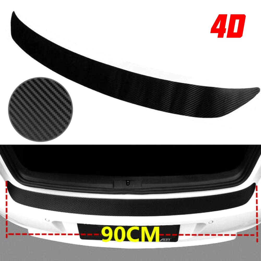 housesweet Rubber Rear Bumper Protector Car Trunk Sill Plate Scuff Strip Carbon Fiber Sticker Trim Guard Bumper Protector