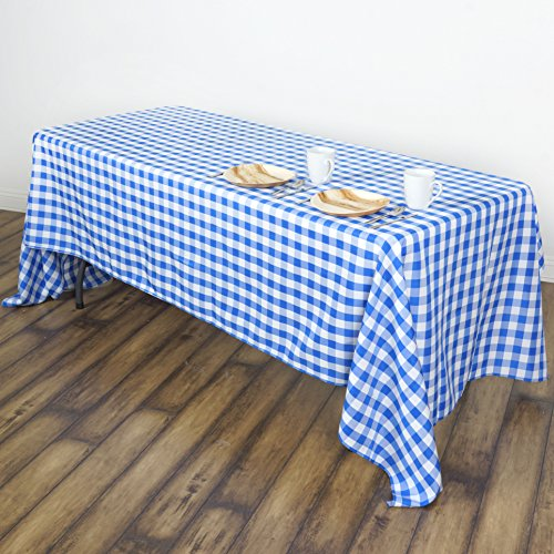 """BalsaCircle 60x102"""" Gingham Checkered Polyester Tablecloth - Blue and White"""