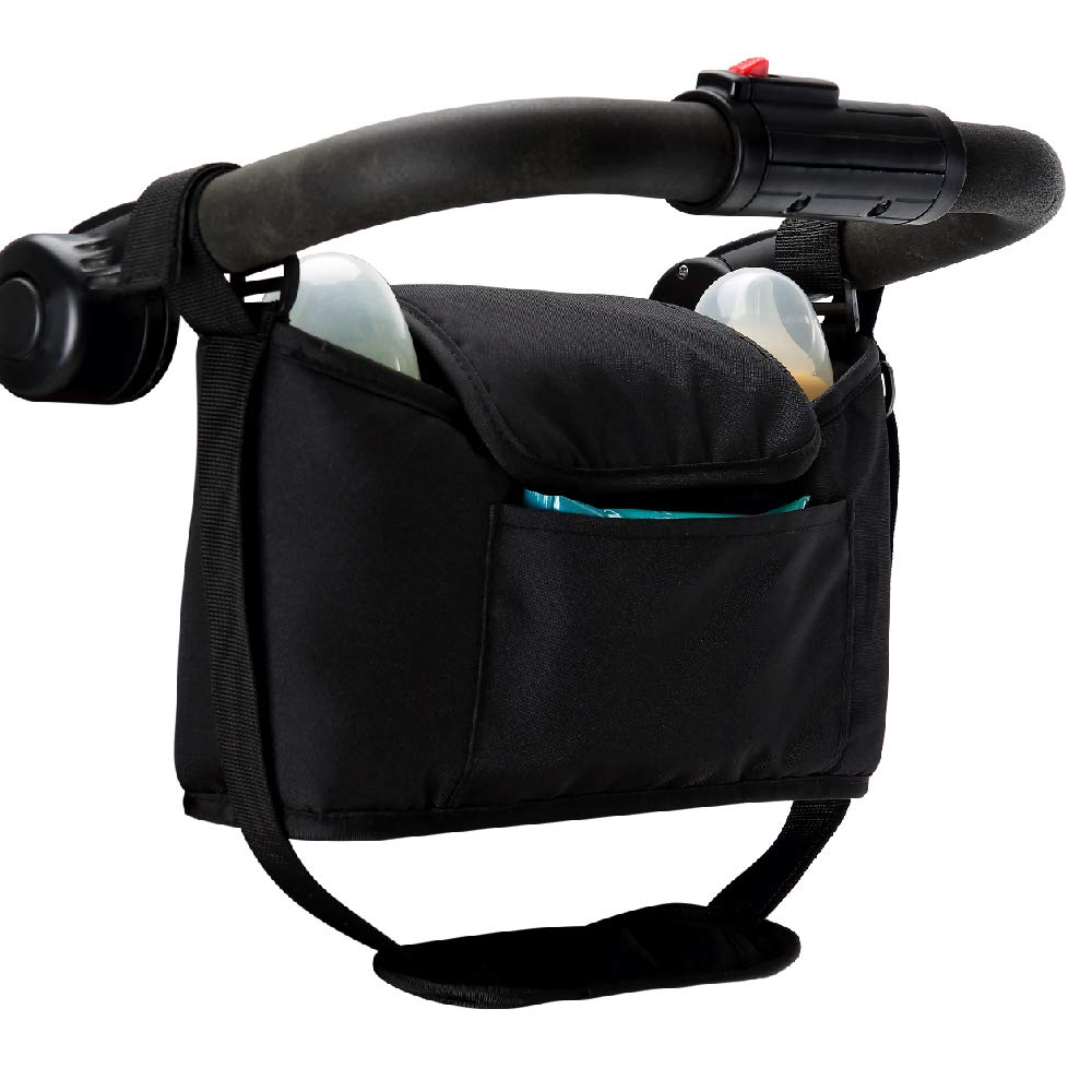 Britax Baby Jogger for Uppababy 2 Hooks Carry Diaper Toys BOB Stroller Bugaboo Universal Stroller Organizer with Padded Shoulder Strap MH Baby Stroller Organizer with 2 Cup Holders Snacks