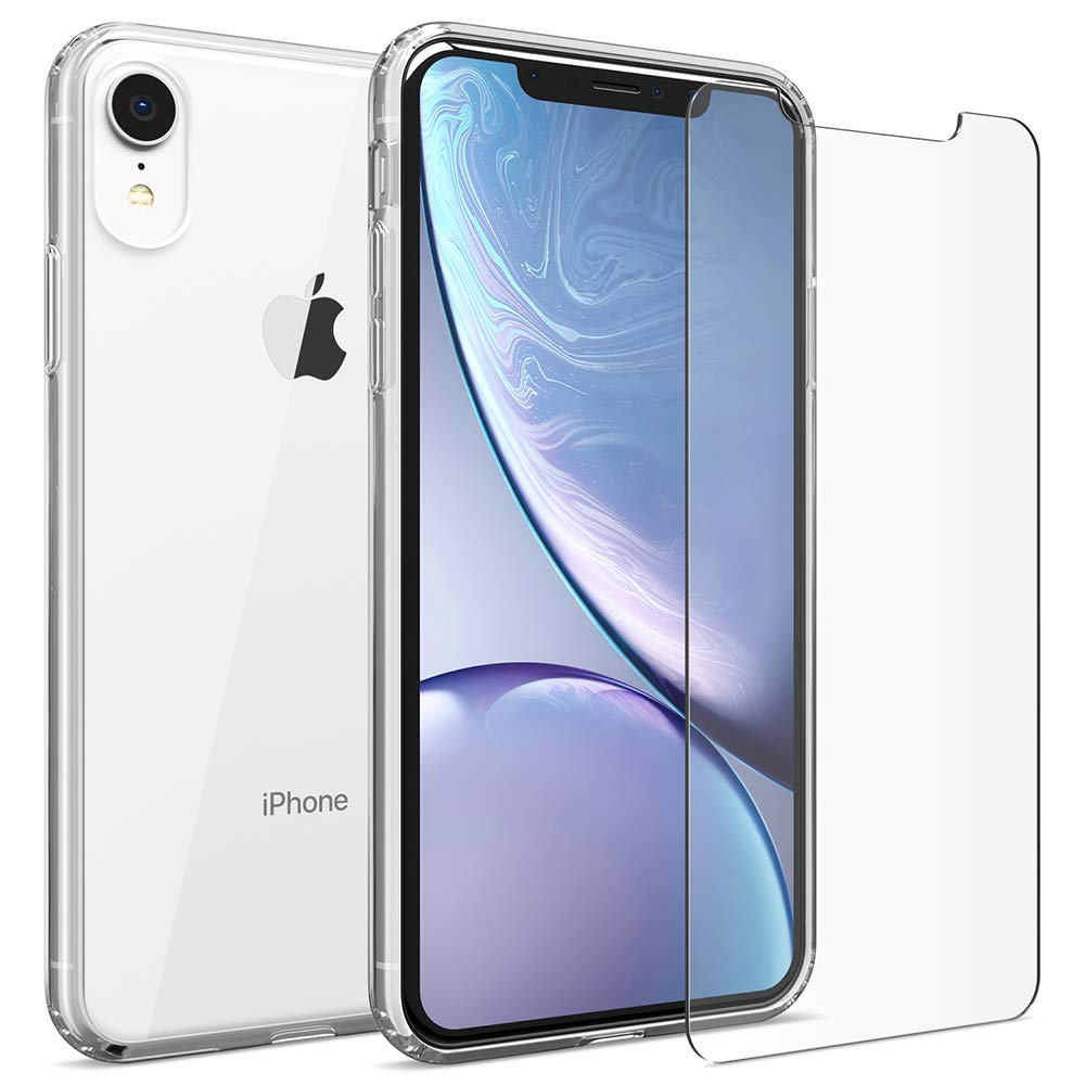 FlexGear Clear Case for iPhone XR + 2 Glass Screen Protectors (Clear)