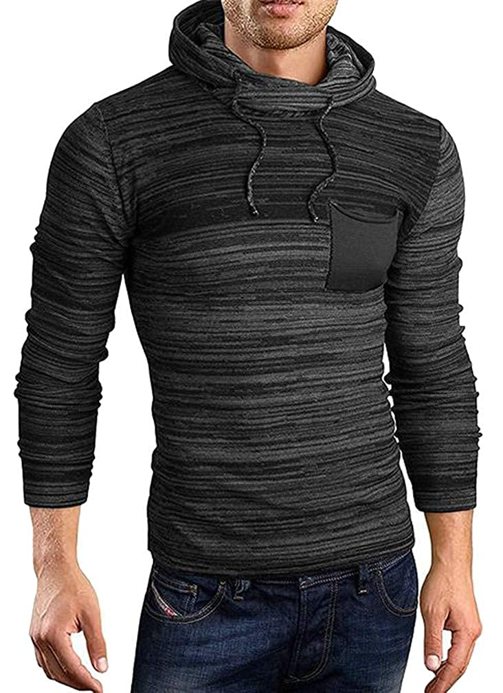 Etecredpow Mens Drawstring Contrast Color Hoodid Knitted Vogue Jumper Sweaters