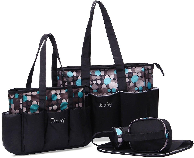 Baby Nappy Changing Diaper Bag Set Mom Handbag Baby Diaper Tote Bag (Gray) BOYUAN B501G