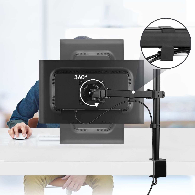 SIMBR Soporte Monitor con Brazo Simple para PC y Pantalla LCD LED de 13-27 para Mesa y Escritorio con VESA 75x75mm y 100x100mm Carga M/áxima de 8kg 17.6lbs y Altura Ajustable