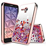 """Jitterbug Smart Case, Jitterbug Liquid Case, NageBee Quicksand Waterfall Liquid Floating Glitter Flowing Sparkle Bling Clear Soft Case for Jitterbug Smart Easy-to-Use 5.5"""" (Rose Gold)"""