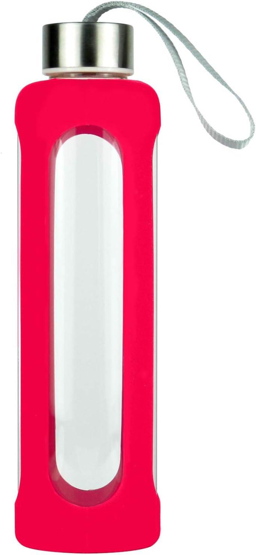SLOSH Botella Cristal Agua Silicona Deporte Vidrio Viaje Deportiva (Rosa Roja)