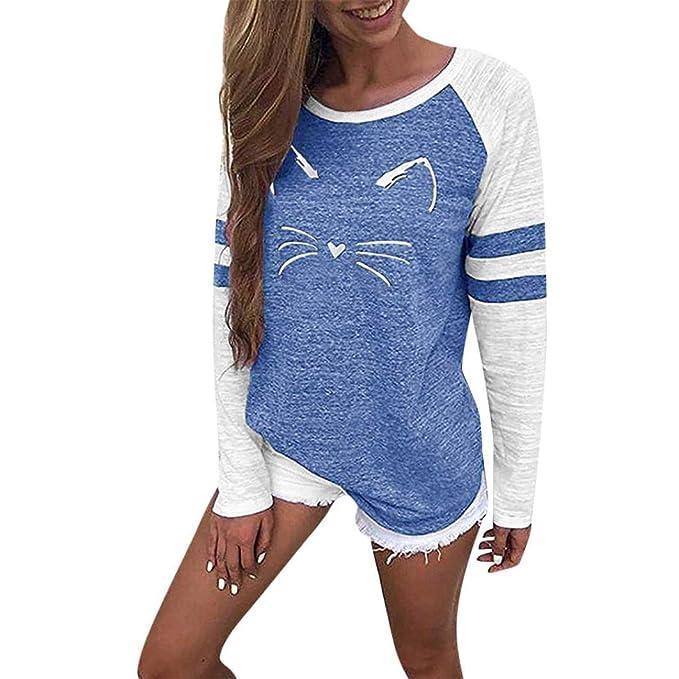 Bestow Ladies Cat t Stitching Mujeres Ladies Cat Camiseta de Impresi¨®n Tops de