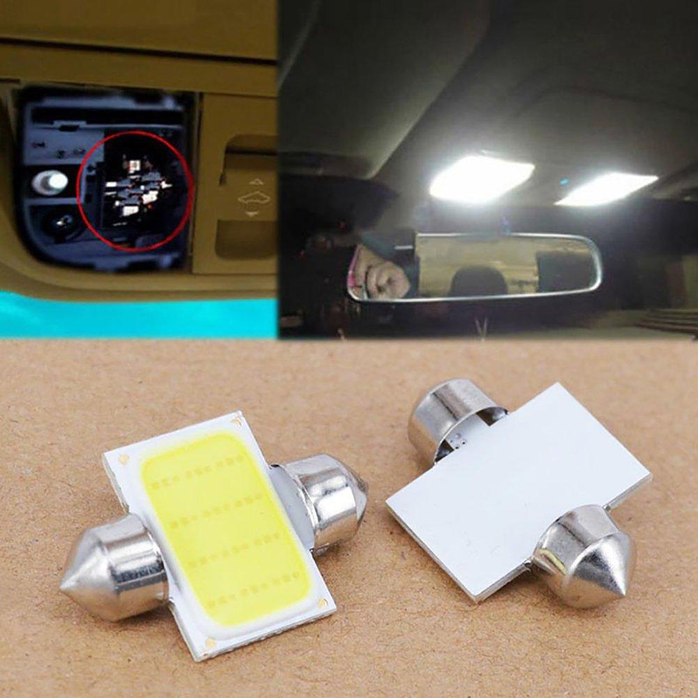 Connoworld Clearance Sale 2Pcs 12V COB LED White Interior Light Lamp Car Caravan Motorhome Reading Lights 31mm by Connoworld (Image #1)