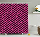Black and Hot Pink Shower Curtains Ambesonne Geometric Decor Shower Curtain by, Abstract Vector Vintage Design with Black Dashed Lines Illustration, Fabric Bathroom Decor Set with Hooks, 70 Inches, Hot Pink and Black
