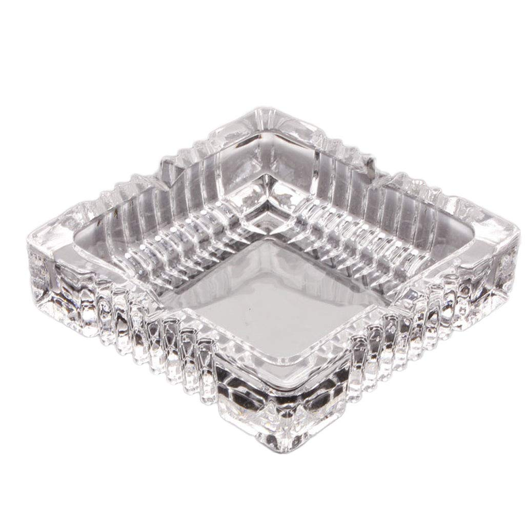 ZDD Square Crystal Glass Ashtray/Creative Personality Home Practical Ashtray/Decorative Ornaments Gift (Four (Size : Ø10.5cmH3.4cm)