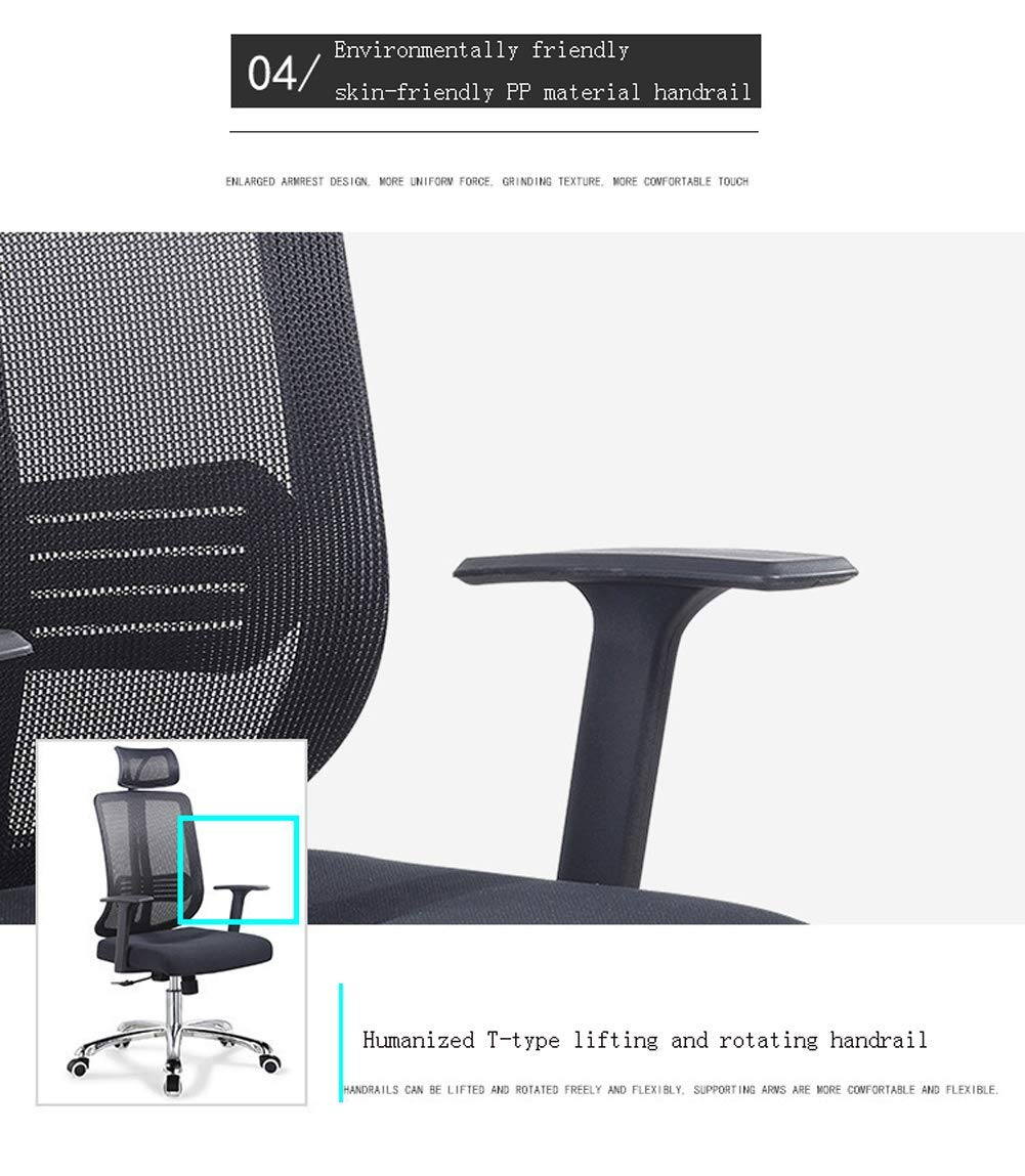 Mesh dator kontorsstol ergonomisk design, managerstol med nackstöd T-format armstöd liggande kontor svängbar stol blå BLÅ