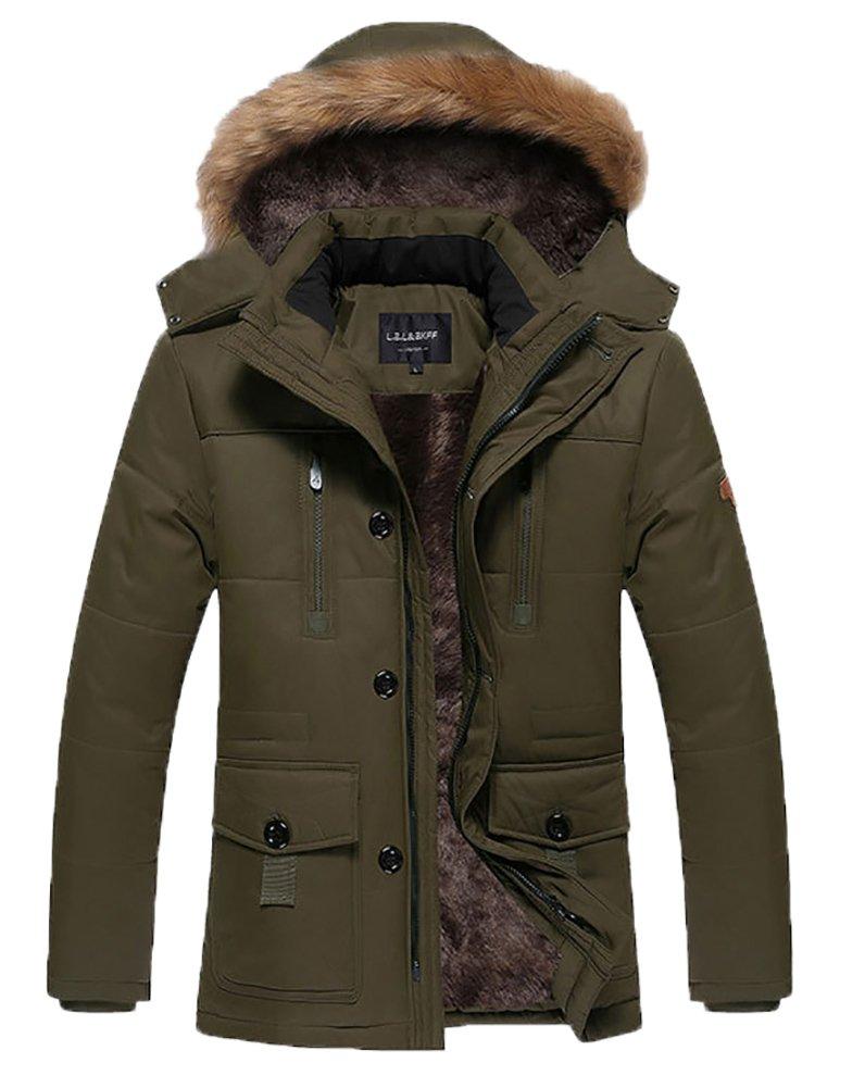 HENGJIA Men's Winter Warm Fleece Lined Coats With Detachable Hooded Windbreaker Jacket Coffee US Small(Asian XL)