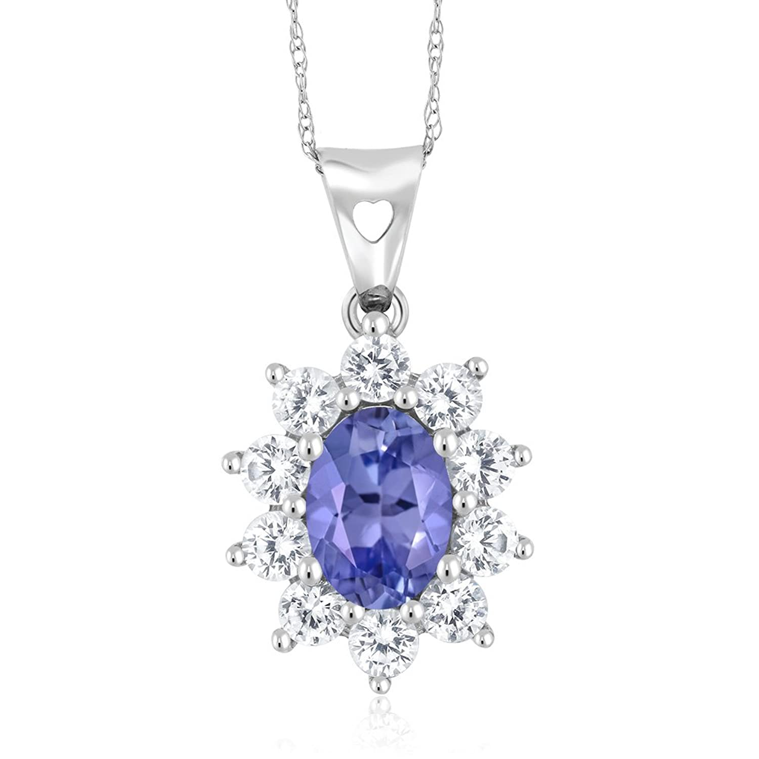10K White Gold 1.25 Ct Blue Tanzanite Women's Oval Halo Pendant with Chain