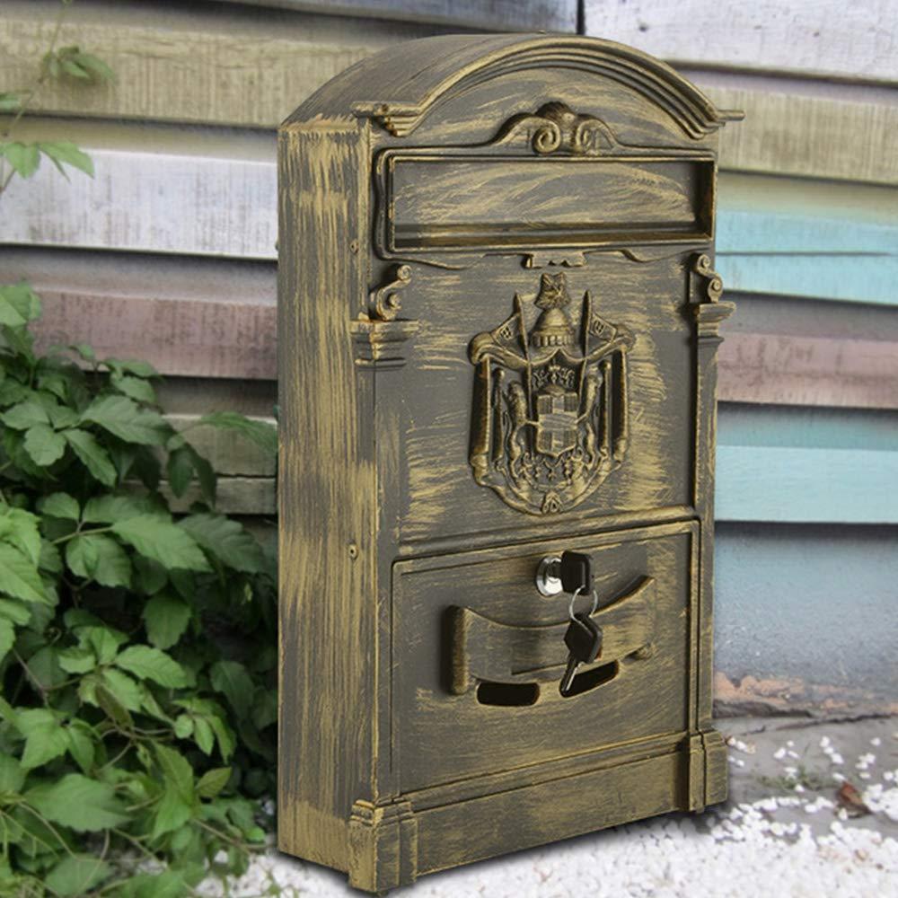 AllRight Aluminium Mailbox Lockable Post Box Secure Letter Box Bronze