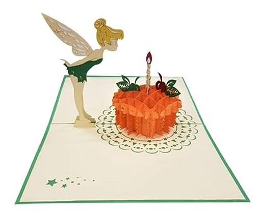 Popup 3D hecho a mano tarjeta de 1er cumpleaños Tinkerbell ...