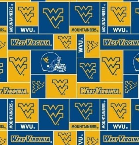 (College University of West Virginia Mountaineers Print Fleece Fabric By the Yard)
