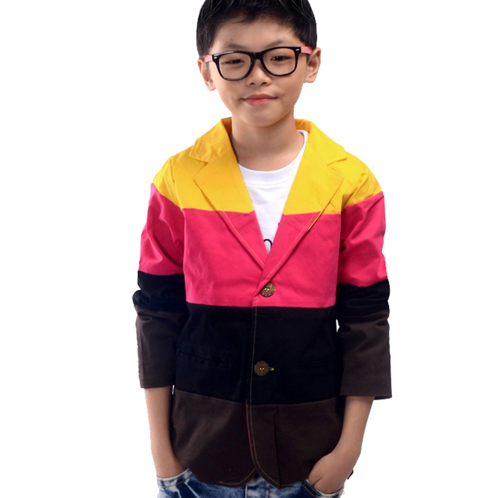 NABER Kids Boys' Fashion Color Splicing Jacket Blazer Party Outerwear Suit Size 3-12 Years (Red, 10-11 Years)