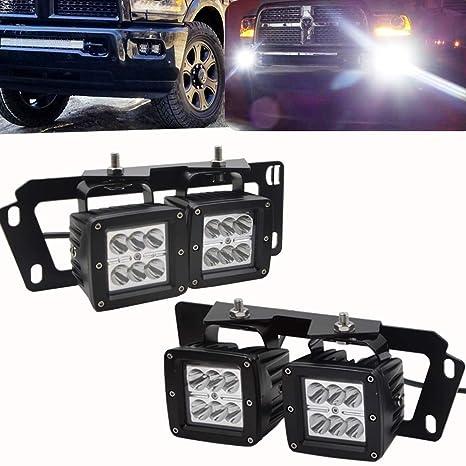4x 3inch 18w Dually Led Fog Light Pods Work Light Cube W Hidden Bumper Mounting Bracket Fit For Dodge 2010 2019 Ram 2500 3500 2009 2012 Ram 1500