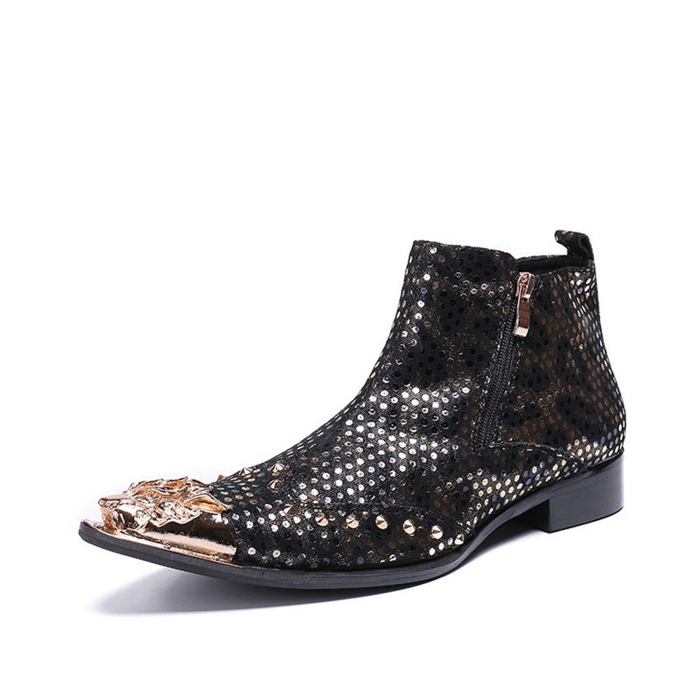 Botines para Hombre, Hombres Botas Caballero Botas de Vaquero Botas de Cuero Botines Zapatos Cuero Negro Metal Dedo del pie Puntiagudo Inteligente ...