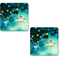 K9IGHTDREAM Wooden Pack of 2 Christmas Coasters | Square Shape Coaster