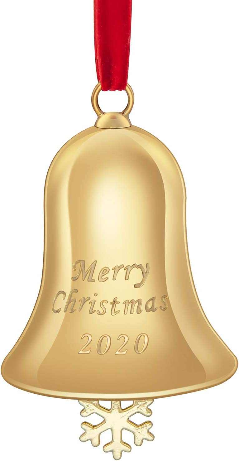 Auerllcy 2020 Christmas Annual Bell Ornament with Gift Box and Red Ribbon for Christmas Tree Home Door Decoration - Zinc Alloy - Gold.