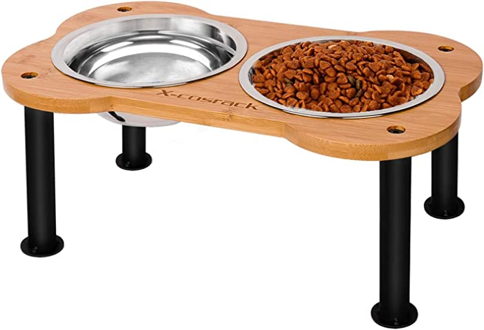 Elevated Dog Bowls,Unique Bone Shape Bamboo Raised Pet Bowls&Cats Dogs Food and Water Stand Pet Feeder with 2 304 Stainless Steel Bowls,Perfect for Pets Puppy Medium Dogs Cats(Patent Pending)