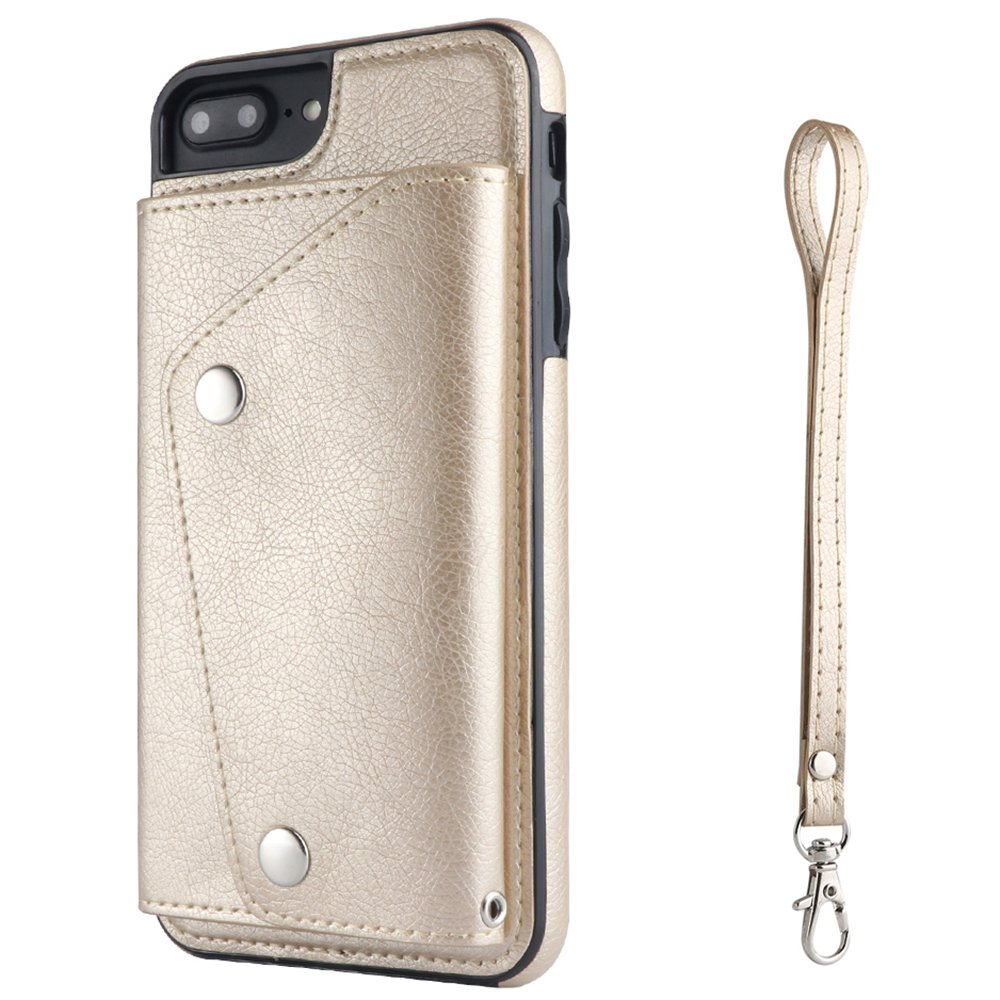 iPhone 6 Plus Phone Case Wallet Cover with Card Holder Hand Straps, Rose Gold FLY HAWK