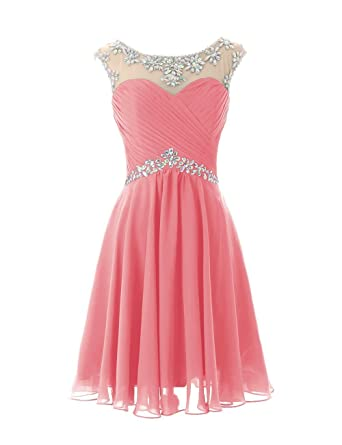 DRESSTELLS Short Prom Dresses Sexy Homecoming Dress Chiffon Birthday Party Dress Coral Size 2