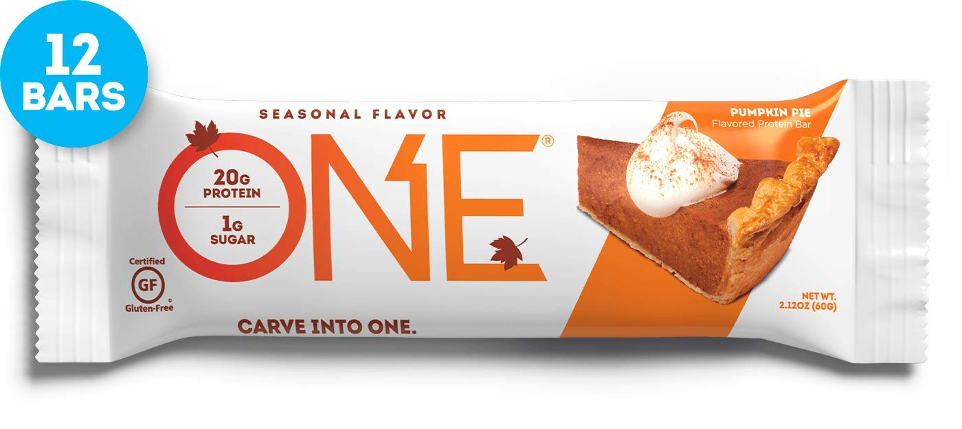 ONE Protein Bars, Pumpkin Pie, Gluten Free Protein Bars with 20g Protein and only 1g Sugar, Guilt-Free Snacking for High Protein Diets, 2.12 oz (12 Pack) by ONE Brands