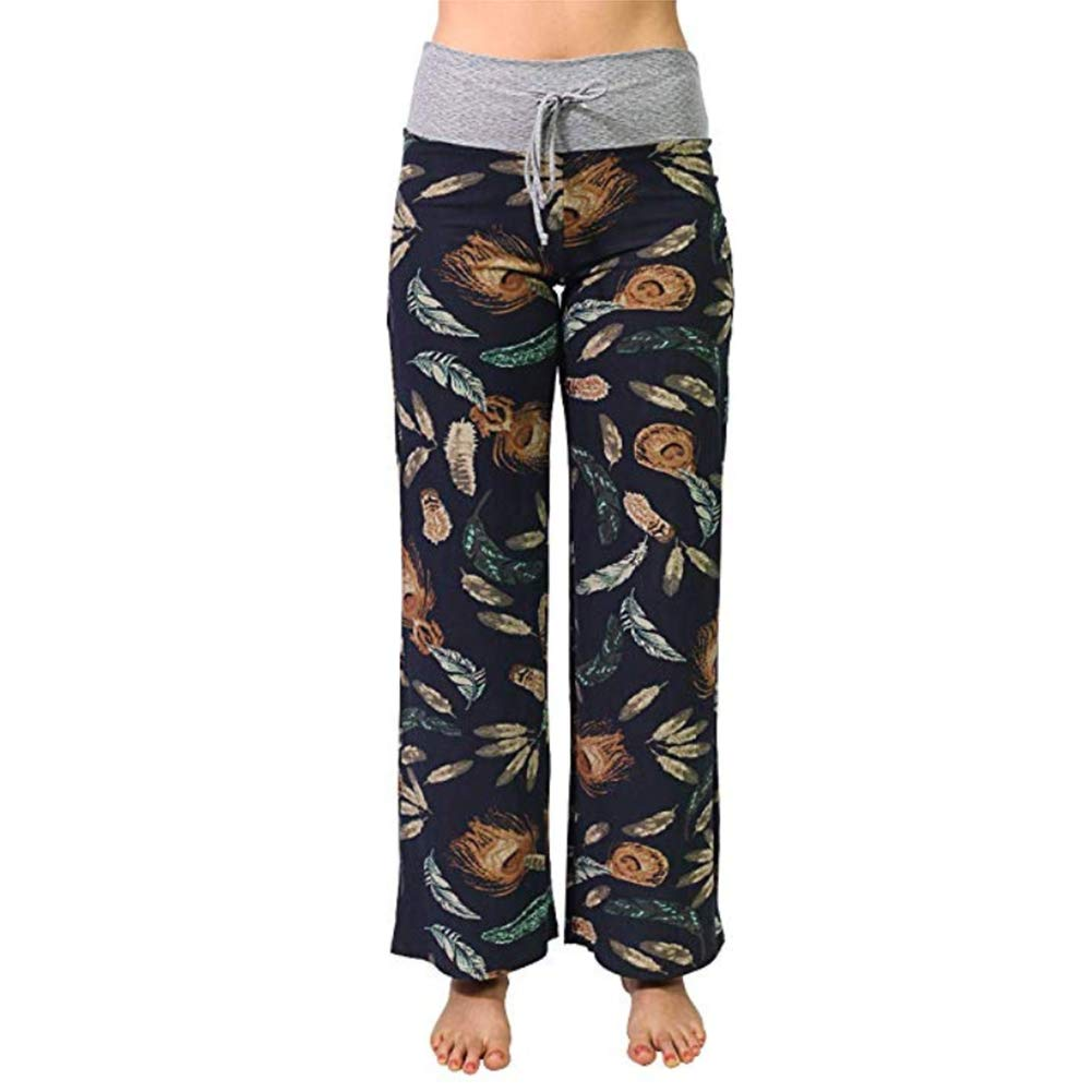 ae12d533bec Women's Comfy Stretchy Pajama Pants Wide Leg Print Palazzo Lounge Pants  Drawstring at Amazon Women's Clothing store: