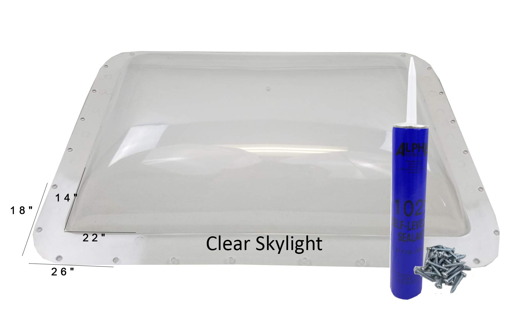 Class A Customs Premium Heavy Duty RV Camper Trailer Skylight - 18 x 26 OD / 14 x 22 ID Clear - Install Kit CS by Class A Customs