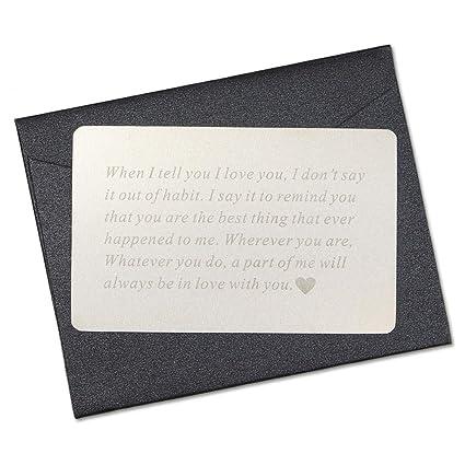 Vanfeis Metal Engraved Mini Love Note Wallet Insert Card