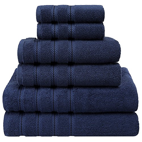 35×70 Inches Bath Sheets for Maximum Softness by American Soft Linen (6-Piece Towel Set, Navy Blue)