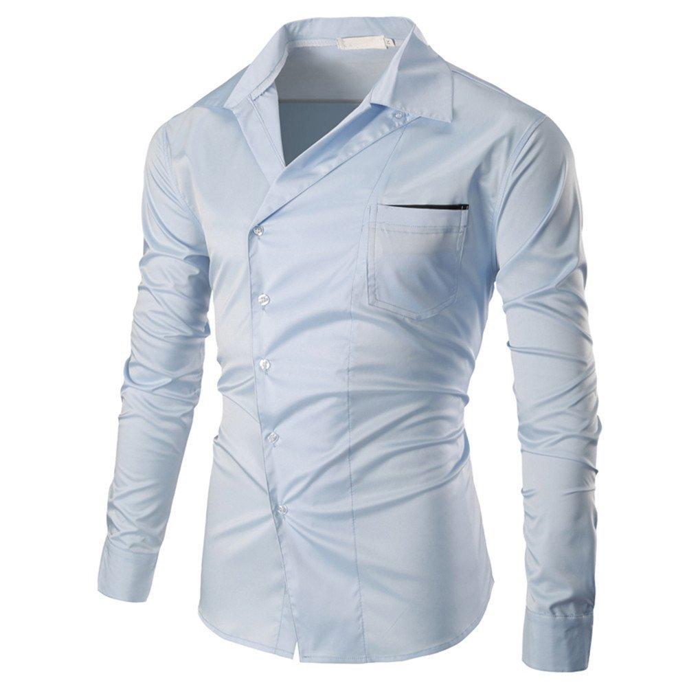 Shirts For Men, Clearance Sale !! Farjing Men's Autumn Casual Fashion Slim Fit V-Neck Long Sleeve Shirt Top Blouse(3XL,Light Blue)