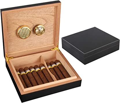 GALINER Humidor de puros, humidificador de escritorio, caja de cigarros forrada de cedro con humidificador higrómetro, 25-30 puros, Negro, 1: Amazon.es: Salud y cuidado personal