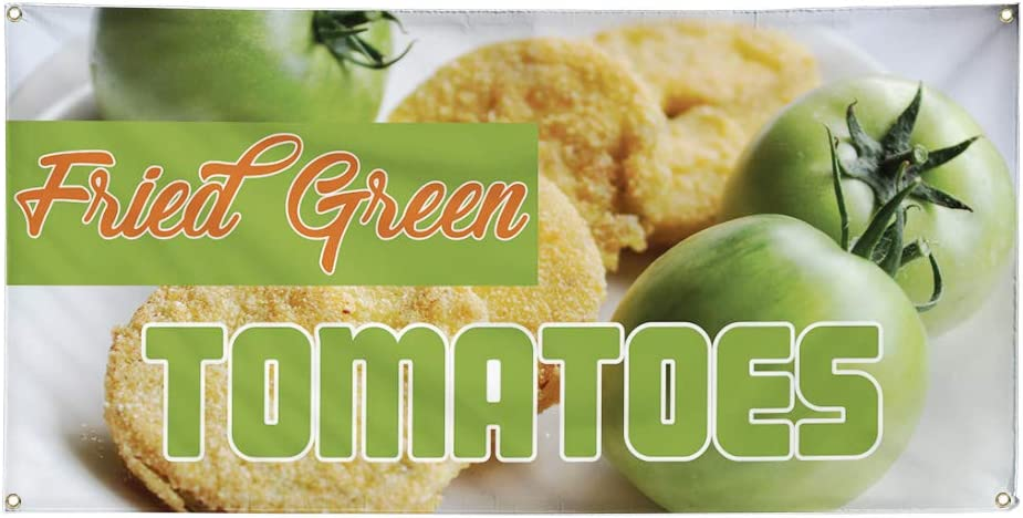 Vinyl Banner Multiple Sizes Fried Green Tomatoes Advertising Printing D Business Outdoor Weatherproof Industrial Yard Signs Green 8 Grommets 48x96Inches