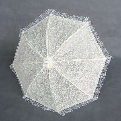 Bpblgf - Paraguas de boda hecho a mano de algodón con encaje, sombrilla de verano