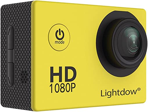 Lightdow LD4000 1080P HD Sports Action Camera Kit – 30m Underwater Waterproof 1.5 Inch LCD Screen 170 Degree Wide Angle 2 Rechargeable Batteries and Mounting Accessories Yellow
