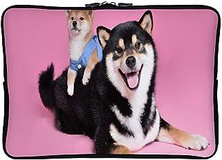 Mucuum Two Cute Dog Pink Background Paquet de Doublure - Étui de Protection pour Sacoche pour Ordinateur Portable avec Sacoche pour Ordinateur Portable - Modèle à Double Motif