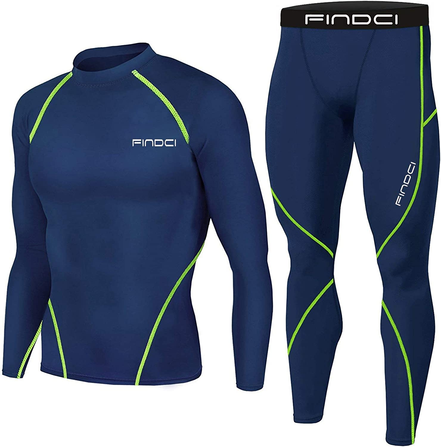 Men Compression Tops Tight Trousers Training Workout Long Sleeve Shirts Long Pants Casual Suits